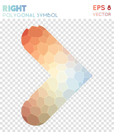 Right open polygonal symbol. Awesome mosaic style symbol. Mesmeric low poly style. Modern design. Right open icon for infographics or presentation.