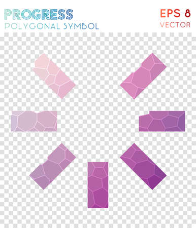 Progress 7 polygonal symbol. Authentic mosaic style symbol. Quaint low poly style. Modern design. Progress 7 icon for infographics or presentation.