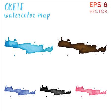 Crete watercolor island map. Handpainted watercolor Crete map set. Vector illustration.
