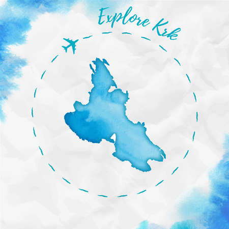 Krk watercolor island map in turquoise colors. Explore Krk poster with airplane trace and handpainted watercolor map on crumpled paper. Vector illustration.