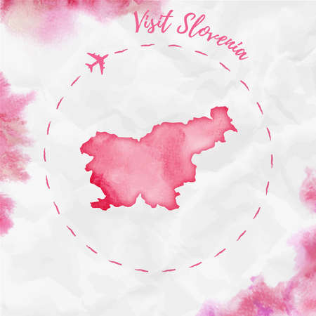 Slovenia watercolor map in red colors. Visit Slovenia poster with airplane trace and handpainted watercolor Slovenia map on crumpled paper. Vector illustration.