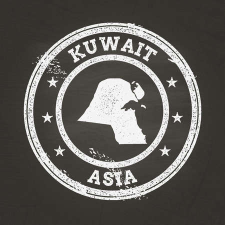 White chalk texture grunge stamp with State of Kuwait map on a school blackboard. Grunge rubber seal with country map outline, vector illustration.
