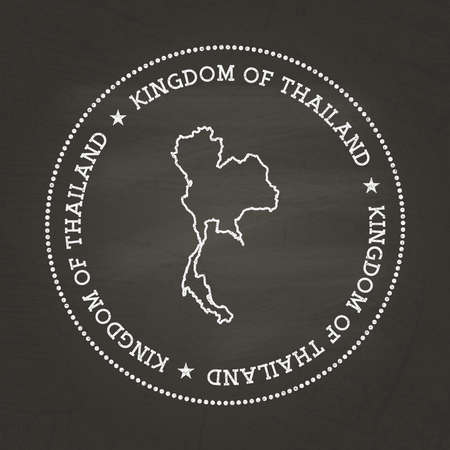 White chalk texture vintage seal with Kingdom of Thailand map on a school blackboard. Grunge rubber seal with country map outline, vector illustration.