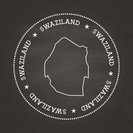 White chalk texture vintage seal with Kingdom of Swaziland map on a school blackboard. Grunge rubber seal with country map outline, vector illustration.