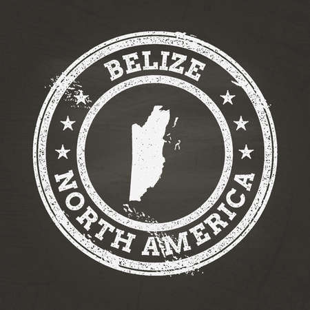 White chalk texture grunge stamp with Belize map on a school blackboard. Grunge rubber seal with country map outline, vector illustration.