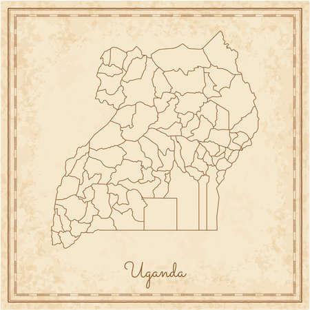 Uganda region map: stilyzed old pirate parchment imitation. Detailed map of Uganda regions. Vector illustration.