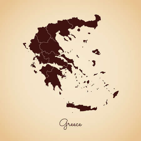 Greece region map: retro style brown outline on old paper background. Detailed map of Greece regions. Vector illustration.