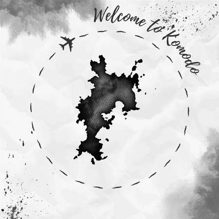 Komodo watercolor island map in black colors. Welcome to Komodo poster with airplane trace and handpainted watercolor Komodo map on crumpled paper. Vector illustration. Illustration