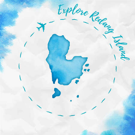 Redang Island watercolor island map in turquoise colors. Explore Redang Island poster with airplane trace and handpainted watercolor map on crumpled paper. Vector illustration.