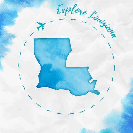 Carte de l'état des États-Unis à l'aquarelle de la Louisiane aux couleurs turquoises. Affiche d'exploration de la Louisiane avec trace d'avion et carte de la Louisiane aquarelle peinte à la main sur papier froissé. Illustration vectorielle. Vecteurs
