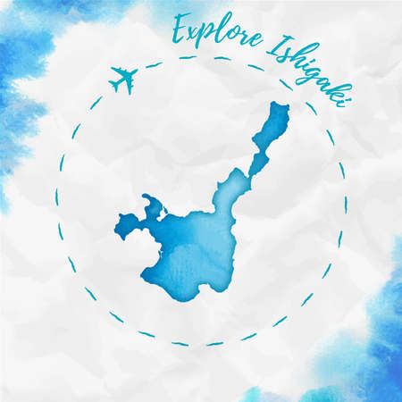 Ishigaki watercolor island map in turquoise colors. Explore Ishigaki poster with airplane trace and handpainted watercolor map on crumpled paper. Vector illustration.