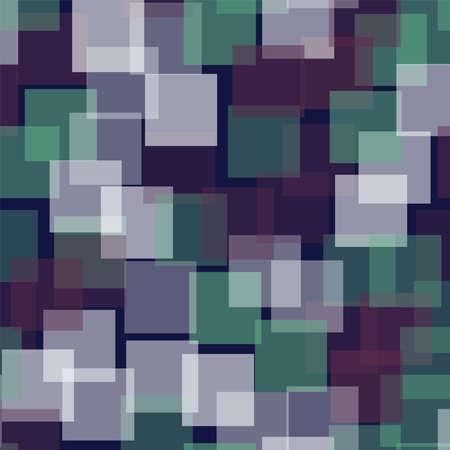 Abstract squares pattern. Deep blue geometric background. Marvelous random squares. Geometric chaotic decor. Vector illustration. Vettoriali