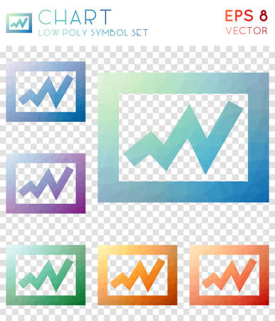 Chart geometric polygonal icons. Amazing mosaic style symbol collection. Dramatic low poly style. Modern design. Chart icons set for infographics or presentation.