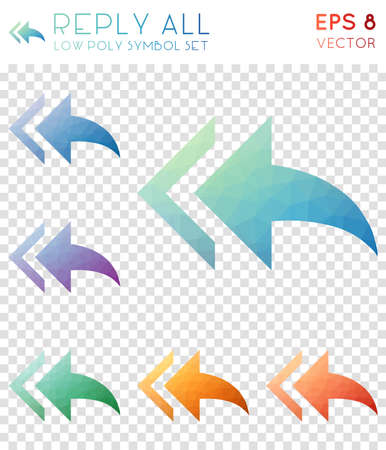 Reply all geometric polygonal icons. Beautiful mosaic style symbol collection. Wondrous low poly style. Modern design. Reply all icons set for infographics or presentation. Illustration