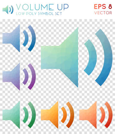 Volume up geometric polygonal icons. Brilliant mosaic style symbol collection. Glamorous low poly style. Modern design. Volume up icons set for infographics or presentation.