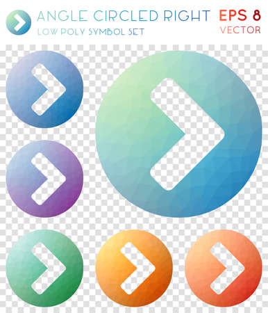 Angle circled right geometric polygonal icons. Alive mosaic style symbol collection. Bizarre low poly style. Modern design. Angle circled right icons set for infographics or presentation.