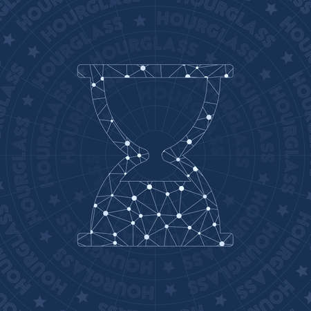 Hourglass network symbol. Alluring constellation style symbol. Fetching network style. Modern design. Hourglass symbol for infographics or presentation. Illustration