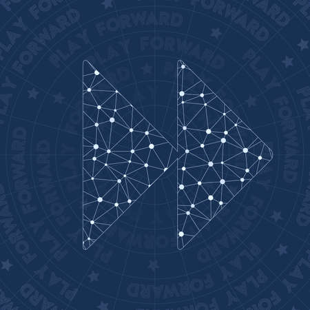 Play network symbol. Alive constellation style symbol. Interesting network style. Modern design. Play symbol for infographics or presentation.