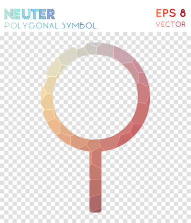Neuter polygonal symbol. Attractive mosaic style symbol. Fancy low poly style. Modern design. Neuter icon for infographics or presentation.
