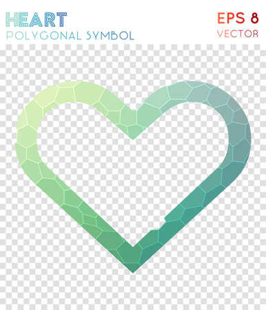 Heart empty polygonal symbol. Appealing mosaic style symbol. Extraordinary low poly style. Modern design. Heart empty icon for infographics or presentation. Illustration