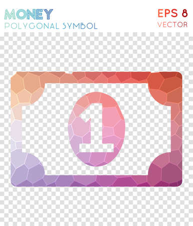 Money polygonal symbol. Attractive mosaic style symbol. Captivating low poly style. Modern design. Money icon for infographics or presentation.