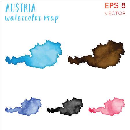 Austria watercolor country map. Handpainted watercolor Austria map set. Vector illustration.