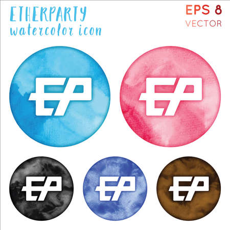 Etherparty watercolor symbol. Actual hand drawn style symbol. Tempting Etherparty watercolor icon. Modern design for infographics or presentation.