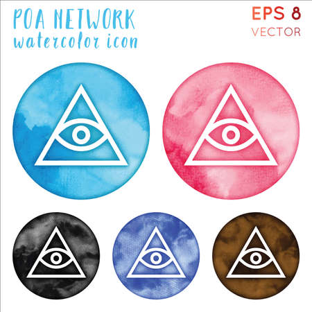 POA Network watercolor symbol. Admirable hand drawn style symbol. Mind-blowing POA Network watercolor icon. Modern design for infographics or presentation.