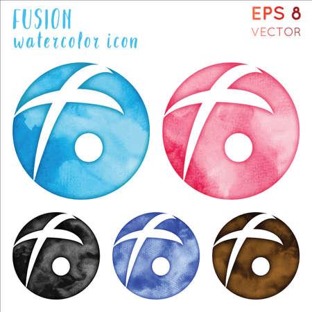 Fusion watercolor symbol. Actual hand drawn style symbol. Surprising Fusion watercolor icon. Modern design for infographics or presentation. Illusztráció