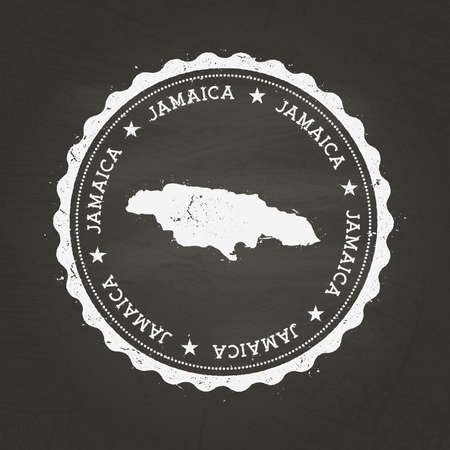 White chalk texture rubber stamp with Jamaica map on a school blackboard. Grunge rubber seal with country map outline, vector illustration.