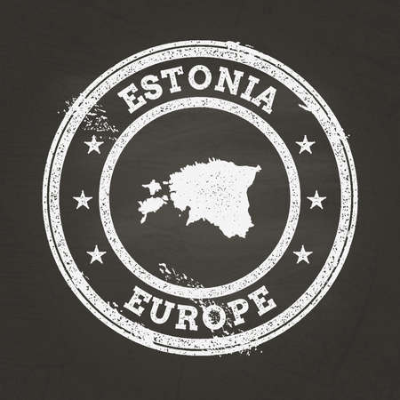 White chalk texture grunge stamp with Republic of Estonia map on a school blackboard. Grunge rubber seal with country map outline, vector illustration. Stock Illustratie