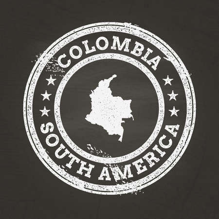 White chalk texture grunge stamp with Republic of Colombia map on a school blackboard. Grunge rubber seal with country map outline, vector illustration.