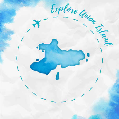 Union Island watercolor island map in turquoise colors. Explore Union Island poster with airplane trace and handpainted watercolor Union Island map on crumpled paper. Vector illustration.