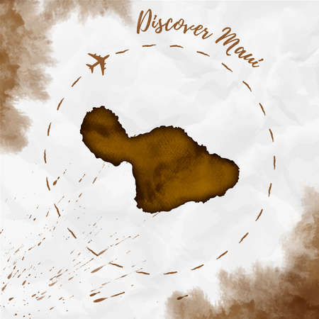 Maui watercolor island map in sepia colors. Discover Maui poster with airplane trace and handpainted watercolor map on crumpled paper. Vector illustration.