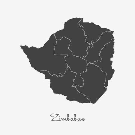 Zimbabwe region map: grey outline on white background. Detailed map of Zimbabwe regions. Vector illustration. 스톡 콘텐츠 - 112540412