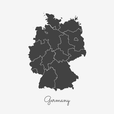 Germany region map: grey outline on white background. Detailed map of Germany regions. Vector illustration.
