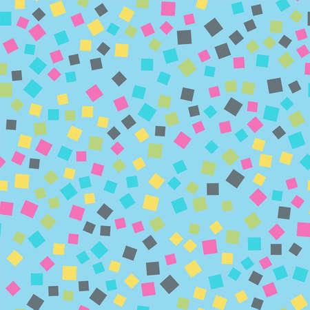 Abstract squares pattern. Light blue geometric background. Beautiful random squares. Geometric chaotic decor. Vector illustration.