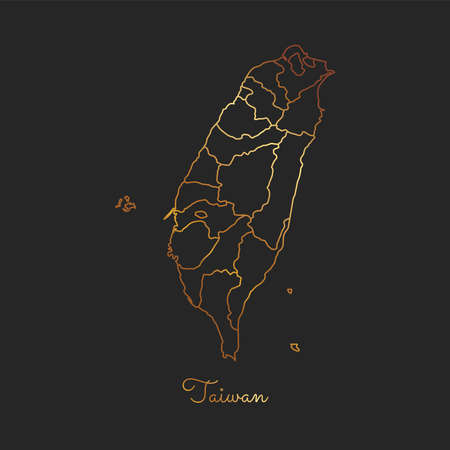 Taiwan region map: golden gradient outline on dark background. Detailed map of Taiwan regions. Vector illustration.