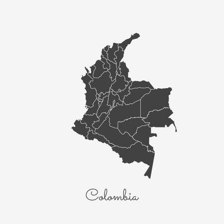 Colombia region map: grey outline on white background. Detailed map of Colombia regions. Vector illustration.