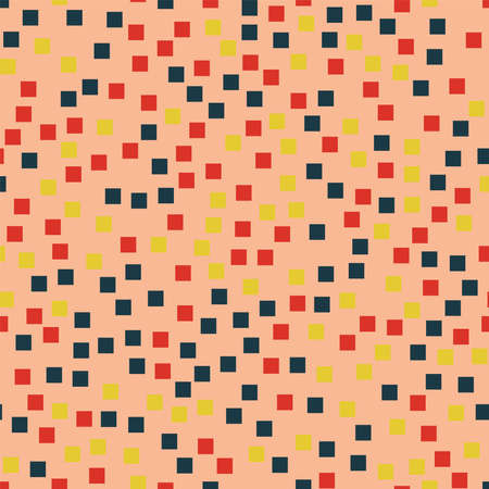 Abstract squares pattern. Pink geometric background. Mind-blowing random squares. Geometric chaotic decor. Vector illustration.