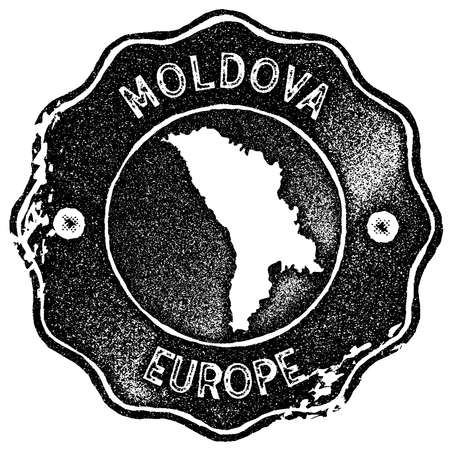 Moldova map vintage stamp. Retro style handmade label, badge or element for travel souvenirs. Black rubber stamp with country map silhouette. Vector illustration.