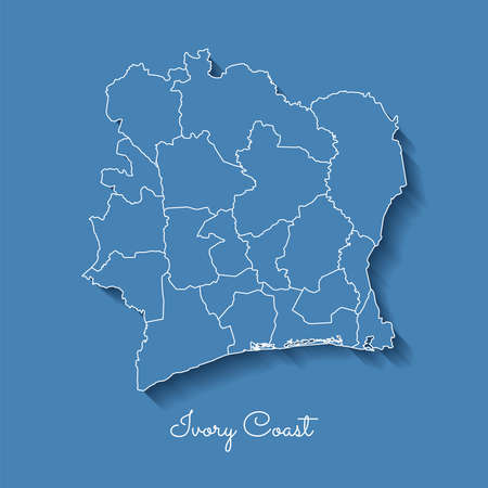 Ivory Coast region map: blue with white outline and shadow on blue background. Detailed map of Ivory Coast regions. Vector illustration. Vectores
