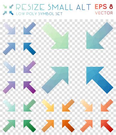 Resize small alt geometric polygonal icons. Bewitching mosaic style symbol collection. Comely low poly style. Modern design. Resize small alt icons set for infographics or presentation.