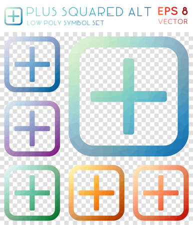 Plus squared alt geometric polygonal icons. Beautiful mosaic style symbol collection. Extraordinary low poly style. Modern design. Plus squared alt icons set for infographics or presentation.