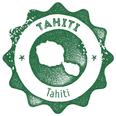 Tahiti map vintage stamp. Retro style handmade label, badge or element for travel souvenirs. Dark green rubber stamp with island map silhouette. Vector illustration.