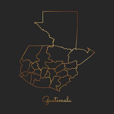 Guatemala region map: golden gradient outline on dark background. Detailed map of Guatemala regions. Vector illustration.