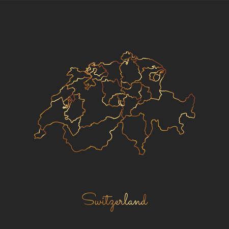Switzerland region map: golden gradient outline on dark background. Detailed map of Switzerland regions. Vector illustration.