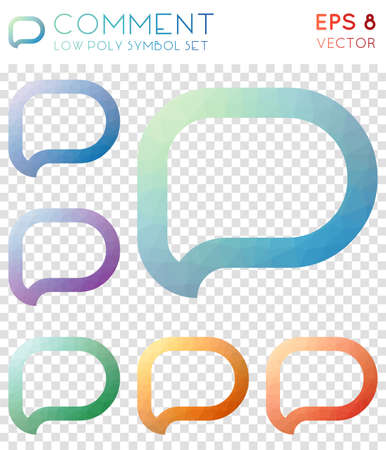 Comment geometric polygonal icons. Amusing mosaic style symbol collection. Curious low poly style. Modern design. Comment icons set for infographics or presentation. Illustration