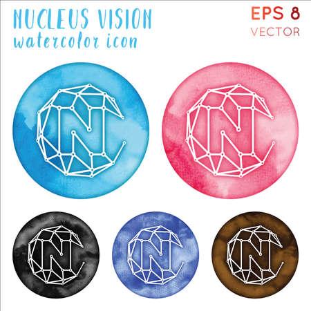 Nucleus Vision watercolor symbol. Admirable hand drawn style symbol. Fetching Nucleus Vision watercolor icon. Modern design for infographics or presentation. Vektoros illusztráció