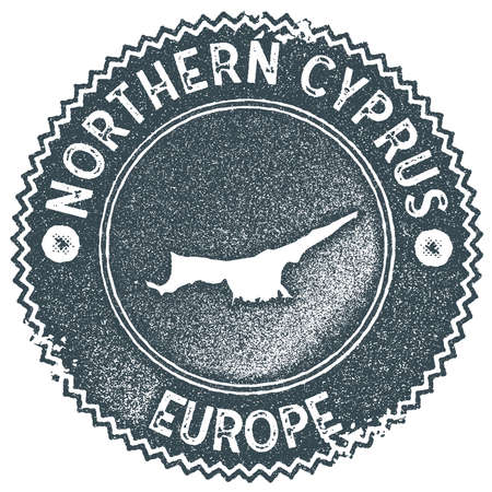Northern Cyprus map vintage stamp. Retro style handmade label, badge or element for travel souvenirs. Dark blue rubber stamp with country map silhouette. Vector illustration.
